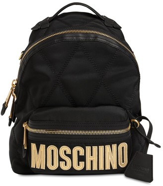 Moschino Logo Quilted Canvas Backpack