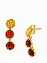 Be-Jewelled Shell Detail Amber Drop Earrings, Gold/Cognac