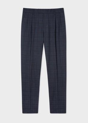 Paul Smith Men's Navy Loro Piana Tweed Pleated Trousers