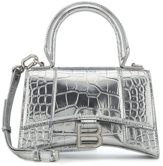 Balenciaga Hourglass XS metallic leather tote