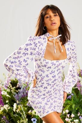 boohoo Butterfly High Neck Mini Dress