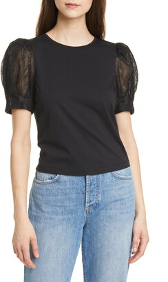 Alice + Olivia Posey Lace Puff Sleeve T-Shirt