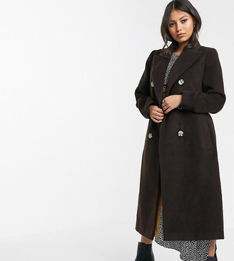 Glamorous Petite double breasted coat with tie waist