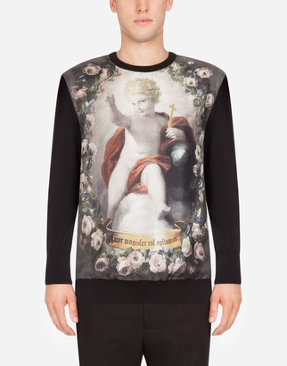 Dolce & Gabbana Crew Neck Cashmere Sweater With Putto Print