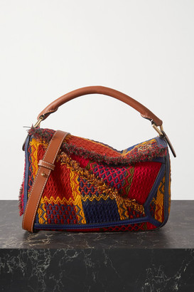 Loewe Puzzle Small Leather-trimmed Tweed Shoulder Bag - Red