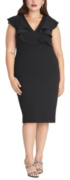 Rachel Roy Trendy Plus Size Sleeveless Ruffle Front Dress