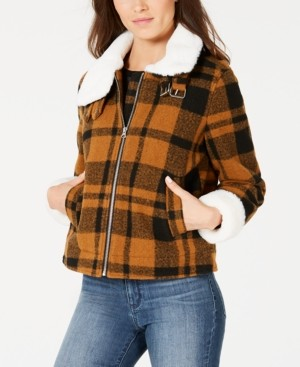 Coffeeshop CoffeeShop Juniors' Faux-Fur-Collar Plaid Jacket