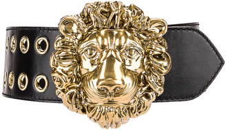 Gucci Leather Lion Belt in 1000 Nero | FWRD