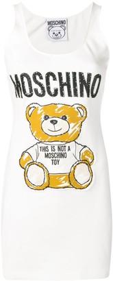 Moschino Teddy-Applique Cotton-Blend Sleeveless Mini Dress