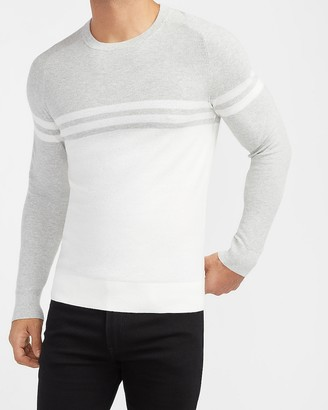Express Chest Stripe Crew Neck Sweater