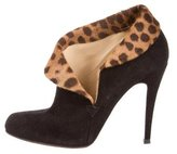Christian Louboutin Suede Leopard Print Ankle Boots