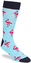 Daniel Cremieux Flamingo Striped Crew Dress Socks