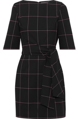 Alice + Olivia Virgil Tie-front Checked Twill Mini Dress