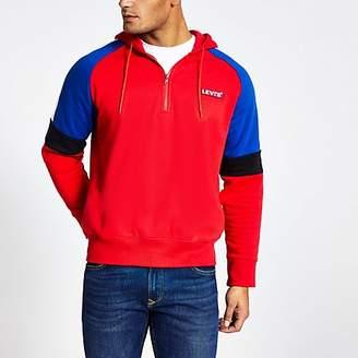 Levi's red colour block half zip hoodie