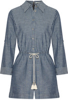 Alice + Olivia Alice Olivia - Carolina Striped Cotton-chambray Playsuit - Indigo
