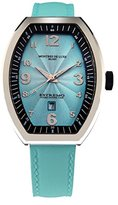 Montres de Luxe Women's EXL A 8301 Estremo Lady Stainless Steel Light Blue Sunray Dial Luminous Leather Date Watch