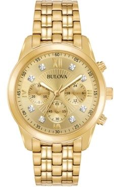 Bulova Men's Chronograph Diamond-Accent Gold-Tone Stainless Steel Bracelet Watch 43mm