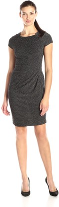Julian Taylor Women's Short Sleeve Side Gathered Glitter Dress