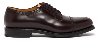 Gucci Gg Perforated Leather Brogues - Mens - Burgundy