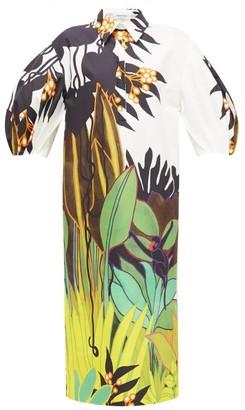 Valentino Puff-sleeve Jungle-print Cotton Shirt Dress - Womens - White Multi