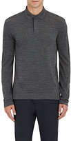 Z Zegna Men's Techmerino Wool Long-Sleeve Polo-GREY