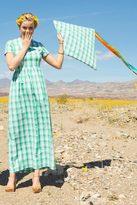 Shabby Apple Amanda Stretch Poplin Plaid Maxi Dress Green