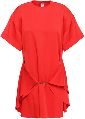 Victoria Beckham Draped Chain-embellished Satin-crepe Mini Dress