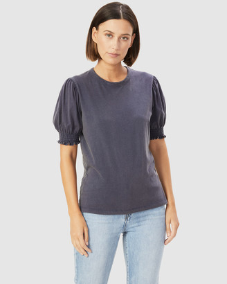 French Connection Women's T-Shirts & Singlets - Acid Wash Puff Sleeve T Shirt - Size One Size, L at The Iconic