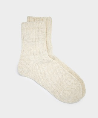 Rototo Low Gauge Slub Socks in Beige