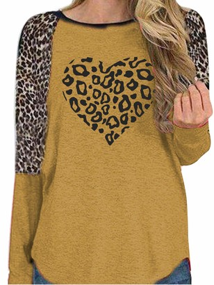 Sexy Dance Women's Leopard Love Heart Print Long Sleeve T Shirt Tops Loose Pullover Blouse Causal Tunic L Yellow