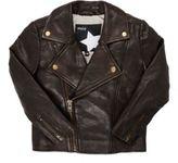 Molo Kids Men's Grained Leather Jacket-BROWN