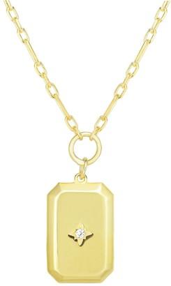 Chloe & Madison Crystal Dog Tag Pendant Necklace
