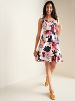 Old Navy Floral-Print Tie-Front Linen-Blend Fit & Flare Cami Dress for Women