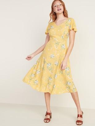 Old Navy Fit & Flare V-Neck Midi Dress for Women