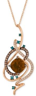 """LeVian Le Vian Exotics Crazy Collection Chocolate Quartz (3-3/4 ct. t.w.) & Diamond (3/4 ct. t.w.) 18"""" Pendant Necklace in 14k Rose Gold"""