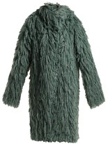 Bottega Veneta Shaggy Oversized Coat - Womens - Mid Green