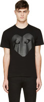 Comme des Garcons Black & Carbon Glossy Heart Logo T-Shirt