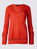 M&S Collection Dipped Hem V-Neck Ruched Sleeve Jumper