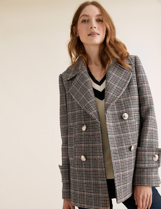 Marks and Spencer Checked Pea Coat with Wool
