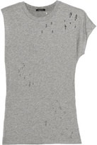 R 13 Distressed Cotton And Cashmere-Blend T-Shirt
