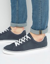 Pull&Bear Perforated Trainers In Navy With White Sole