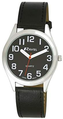 Ravel Unisex R0125031 Easy Read Classically Styled Watch with Bold Hands and Bold Numbers on PU Strap Quartz Watch with Black Dial Analogue Display