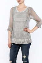 Variations Grey Lace Tunic Top