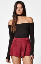 La Hearts Ribbed Long Sleeve Off-The-Shoulder Top