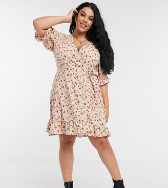 Wednesday's Girl Curve mini wrap dress with tie sleeves in ditsy floral