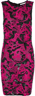 Alice + Olivia Nat Sequin-embellished Embroidered Tulle Mini Dress