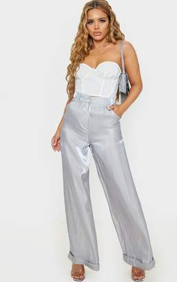 PrettyLittleThing Petite Grey Holographic Wide Leg Trouser