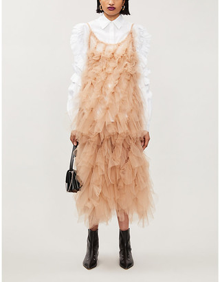 Roberts Wood Vortex sheer tulle woven midi dress