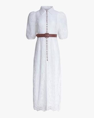 Divine Heritage Lace Button-Up Maxi Dress
