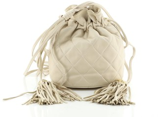 Chanel Vintage Drawstring Bucket Bag Quilted Lambskin Mini
